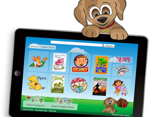 graphic of puppy holding tablet with kids catalog