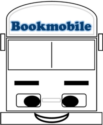 vector graphic of front of bookmobile in a face