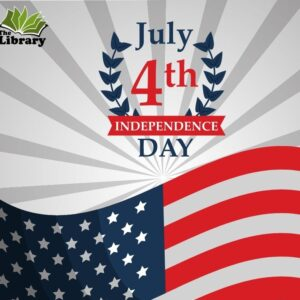 Independence day graphic with flag and gray striped background