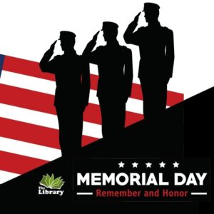 memorial day graphic with three soldiers saluting a flag