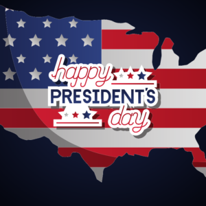 President's Day graphic flag covering the shape of the United States