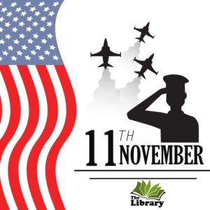 Veterans Day graphic soldier saluting a flag